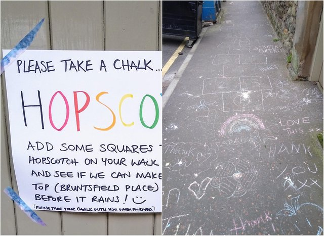 The giant game of hopscotch stretches at least 200 yards up Leamington Terrace.