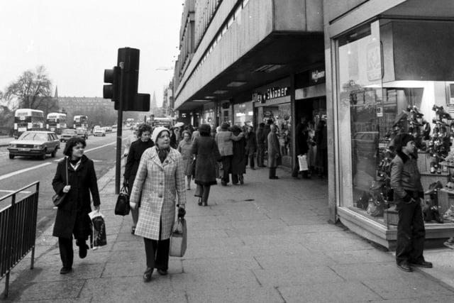 Shopping in Princes Street Edinburgh, March 1980.