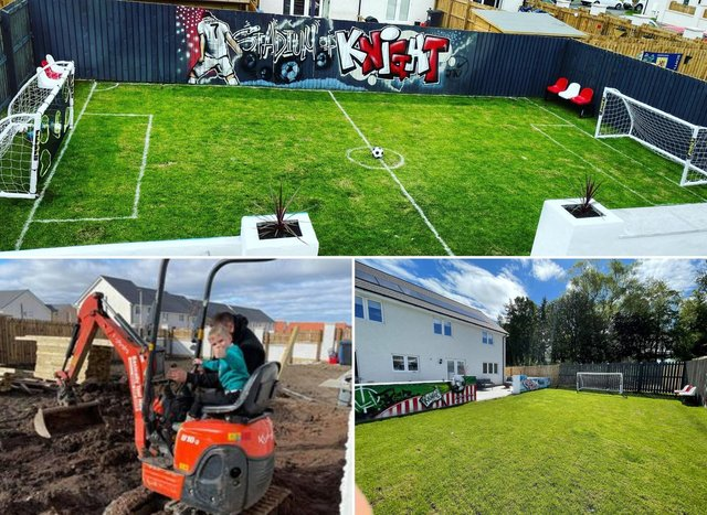 'Neighbours might soon stop passing the ball back over the fence!':Football mad Midlothian family create incredible pitch in garden