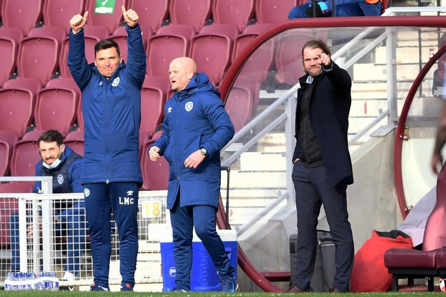 Hearts manager Robbie Neilson (right) and his assistants Lee McCulloch and Gordon Forrest.