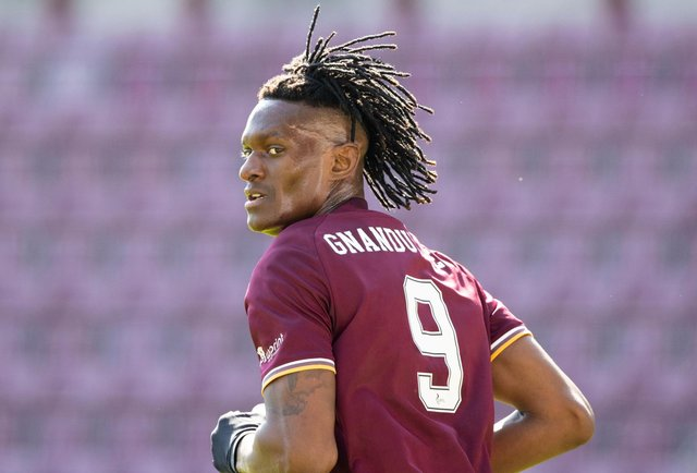 Hearts striker Armand Gnanduillet netted twice for the Jambos. Picture: SNS