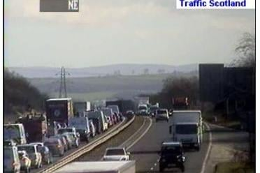 Traffic building up on the Edinburgh City Bypass due to the jackknifed lorry this morning (Photo: Traffic Scotland).