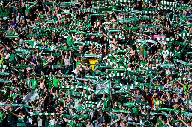 Hibs supporters celebrate at Hampden Park after their side defeated Rangers in the 2016 Scottish Cup final. Picture: SNS