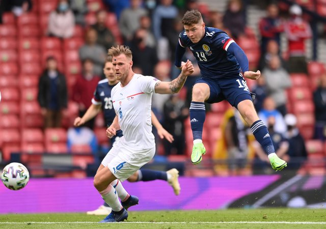 Hibs striker Kevin Nisbet has a strike on goal after coming off the bench in the 2-0 defeat to Czech Republic in the Euro 2020 opener at Hampden. (Photo by Stu Forster/Getty Images)