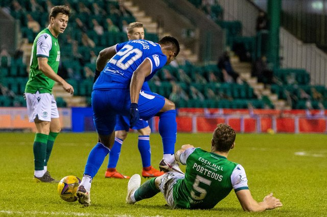 Rangers' Alfredo Morelos was banned after he was caught stamping on Hibs defender Ryan Porteous in January's meeting between the sides. Photo by Craig Williamson / SNS Group