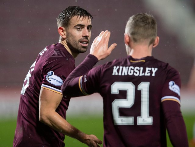 Stephen Kingsley and Olly Lee were on target for Hearts.