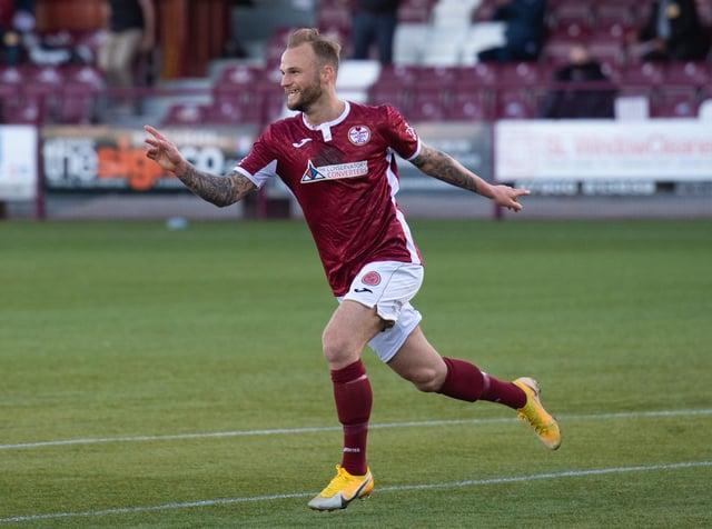 Kallum Higginbotham celebrates putting Kelty Hearts 1-0 up against Brechin City.
