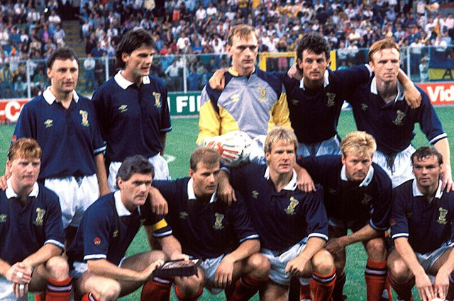 Craig Levein and Dave McPherson in Scotland's line-up for the 2-1 victory over Sweden at Italia '90. Picture: SNS