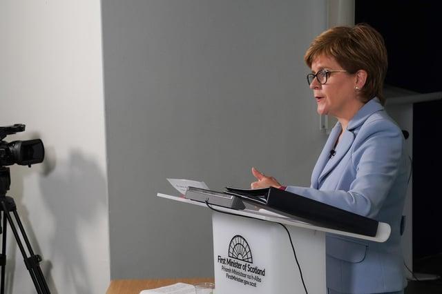 Nicola Sturgeon addresses a virtual meeting of the Scottish Parliament
