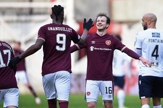 Hearts goalscorers Andy Halliday and Armand Gnanduillet.