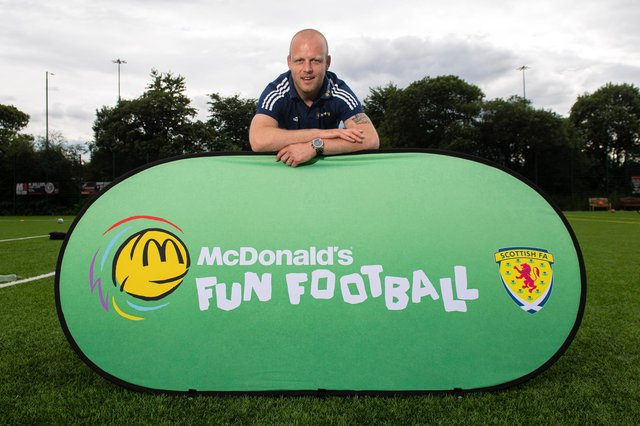 Steven Naismith pictured during a McDonald's Football Fun session at Sir Alex Ferguson Park in Glasgow (Photo by Ross MacDonald / SNS Group)