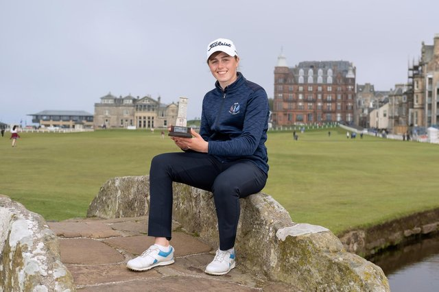 Hannah Darling shows off the St Rule Trophy after her weekend win in St Andrews. Picture: St Andrews Links Trophy