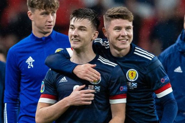 Scotland's Kieran Tierney (left) with Kevin Nisbet at full time during a Euro 2020 match between England and Scotland at Wembley. (Photo by Alan Harvey / SNS Group)
