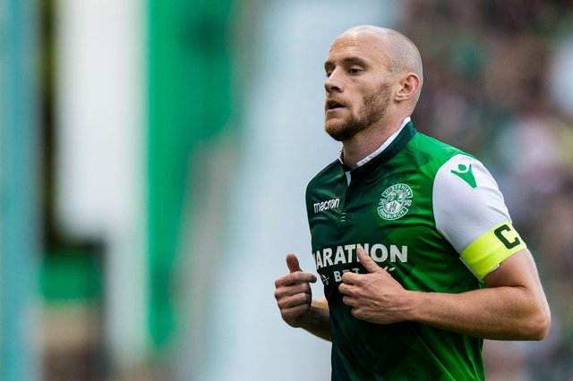 David Gray in action for Hibs during a Europa League clash with Molde of Norway