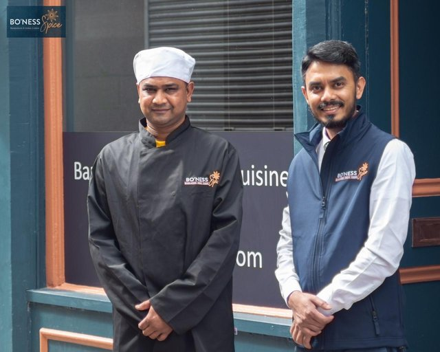 Abbas Mohammad and with chef Prince Morol at Bo'ness Spice at 61 South Street