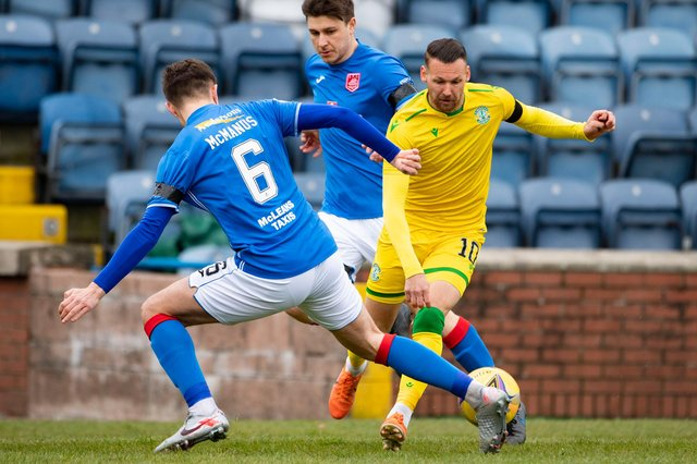 Hibs attacker Martin Boyle tries to evade the attentions of Stranraer defnder Connor McManus