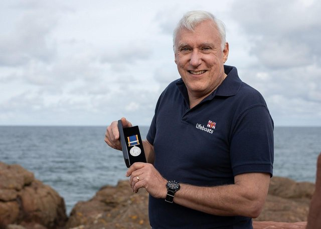 Ian Wilson with his 40 year service medal when he was with North Berwick RNLI. Pic: Nick Mailer/RNLI