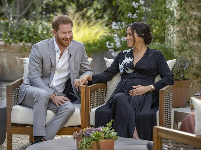 The Duke and Duchess of Sussex during their interview with Oprah Winfrey.