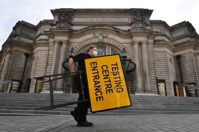 UK Government opening a walk-through coronavirus testing centre at Edinburgh's Usher Hall (Photo: Michael Gillen).