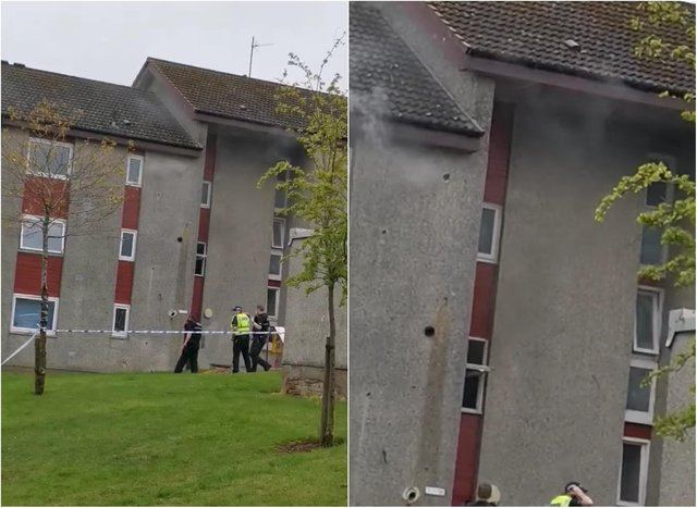 Footage showed smoke coming from the flat in Livingston on Saturday night.