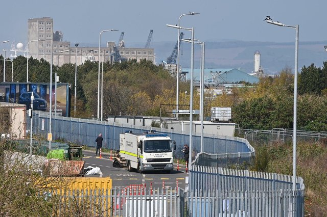 The bomb disposal unit were called to the recycling centre. Pic: Andy O'Brien