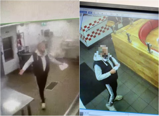 The suspect was caught on camera in the Five Guys restaurant in Edinburgh's Frederick Street. Pic: Edinburgh Crime and Breaking Incidents