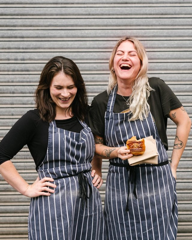Emily Cuddeford (right) with her friend and business partner Rachel Morgan