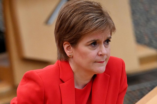 First Minister Nicola Sturgeon attending First Minster's Questions at the Scottish Parliament in Edinburgh picture: PA