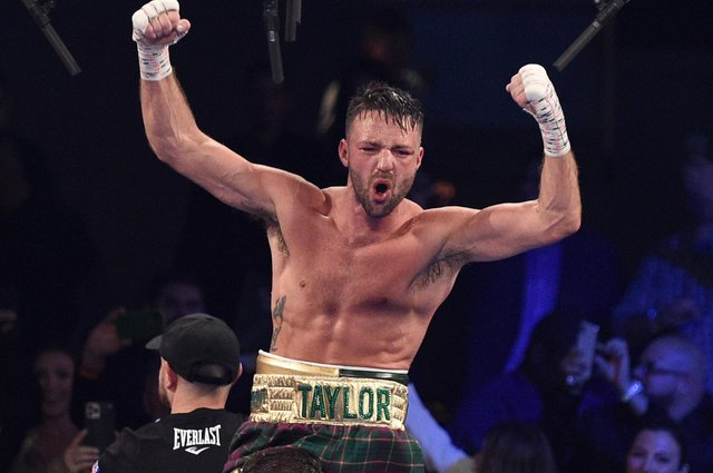 Taylor reacts after his win by unanimous decision over Jose Ramirez in their junior welterweight world unification title fight at Virgin Hotels, Las Vegas