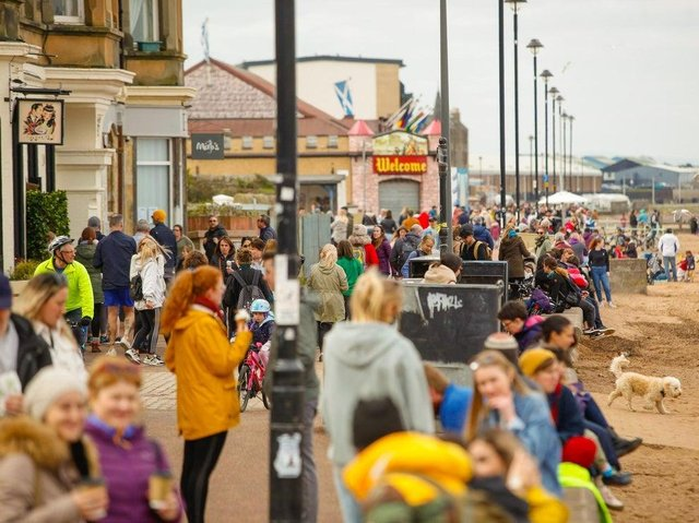 Crowds flocked to Porty beach over Easter weekend as Covid rules across Scotland lifted picture: JPI Media