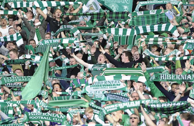 JP LicenseScottish Cup Final, Hampden Park, Glasgow. 21st May  2016Hibernian v RangersHibs fans celebrate winning the Scottish Cup Neil Hanna Photographywww.neilhannaphotography.co.uk07702 246823