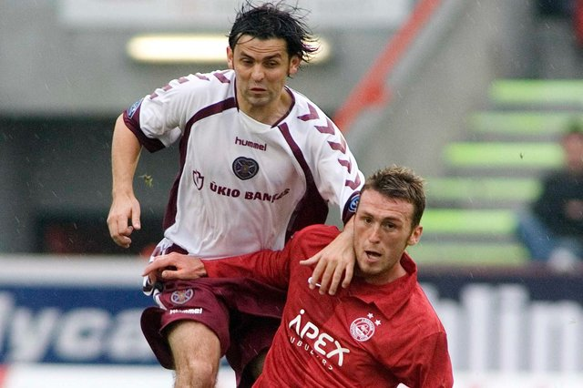 Paul Hartley and Lee Miller played together at Tynecastle. Picture: SNS