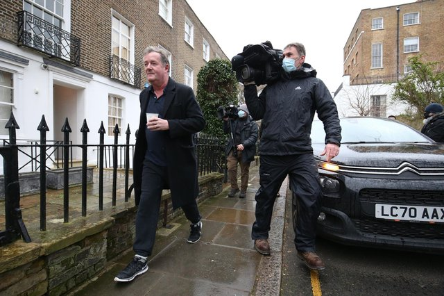 Piers Morgan (left) returns to his home in Kensington, central London, the morning after it was announced by broadcaster ITV that he was leaving as a host of Good Morning Britain.