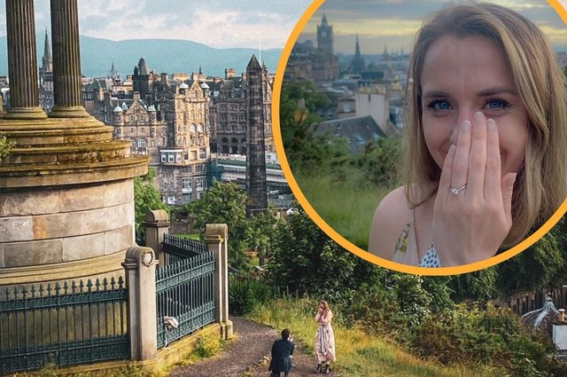 A couple are 'really grateful' after their wedding engagement at Calton Hill was captured by strangers (Photo: Natasha Kappella and 'Rachel').