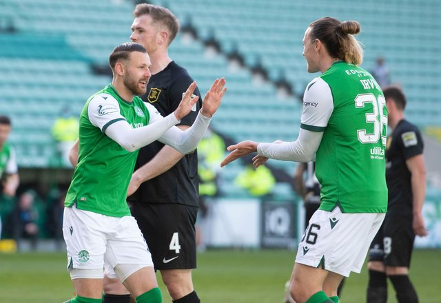 Hibs' Martin Boyle celebrates making it 2-0 over Livingston with Jackson Irvine. (Photo by Mark Scates / SNS Group)