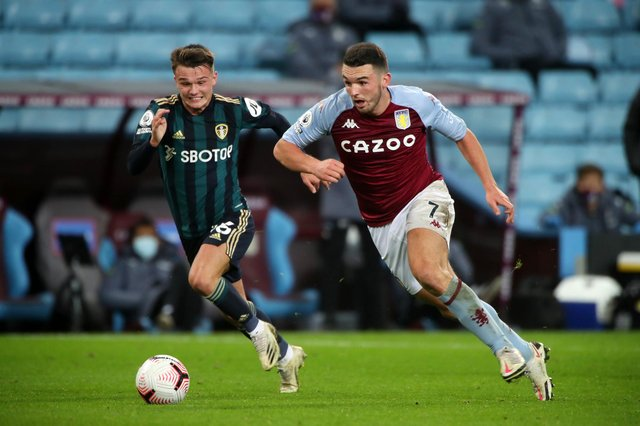 John McGinn in action for Aston Villa in a Premier League match with Leeds United