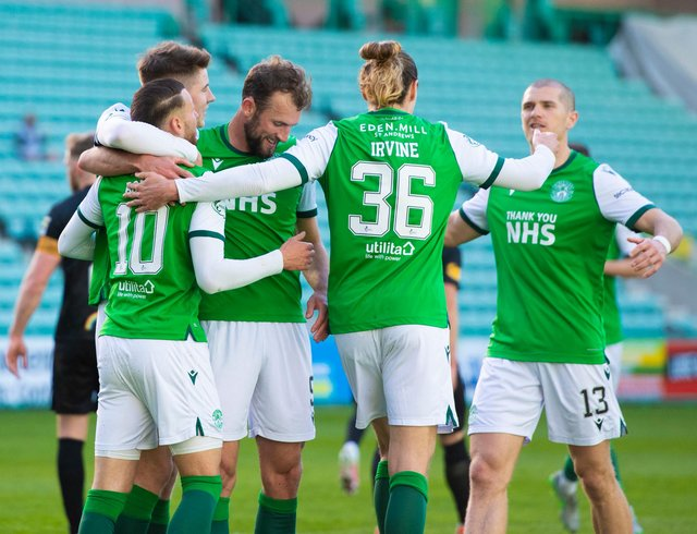 Hibs players celebrate after Martin Boyle's penalty put them 2-0 up on Livingston at Easter Road (Photo by Mark Scates / SNS Group)