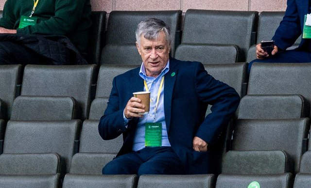 Hibernian chairman Ron Gordon, pictured during the recent draw with Motherwell at Easter Road, insists the club is not for sale. (Craig Foy / SNS Group)