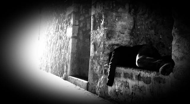 "Peter Henshaw rough sleeping in Edinburgh.  He said these were ""terrible"" months."