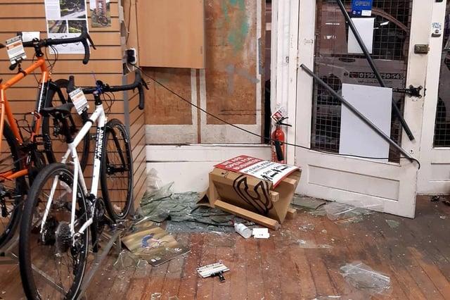 Biketrax, Edinburgh, became the victims of a 'smash and grab' last night