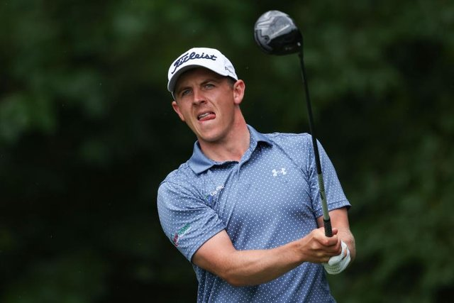 Grant Forrest plays his tee shot on the 12th hole during final round of the Dubai Duty Free Irish Open at Mount Juliet Golf Club in Thomastown. Picture: Warren Little/Getty Images.