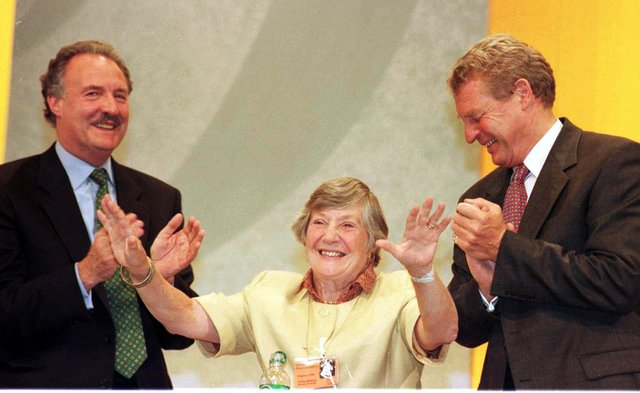Paddy Ashdown (right) and Lord Holme congratulating Shirley Williams on her speech at the Liberal Democrats Conference in Brighton.
