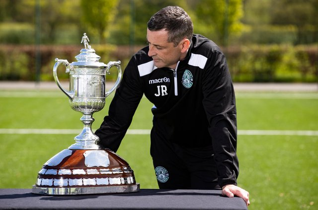 Hibs  manager Jack Ross looks longinglyat a Scottish Cup he hopes to be lifting on Saturday. (Photo by Alan Harvey / SNS Group)