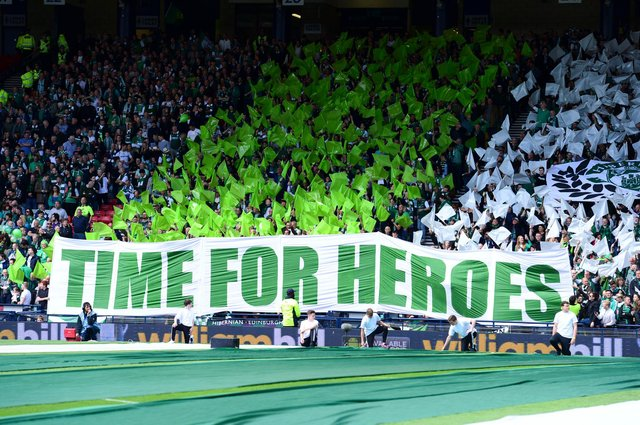 Hibs fans unveil a banner ahead of the 2016 final