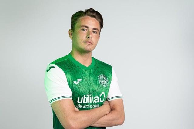 Hibs midfielder Scott Allan models the new kit he helped design