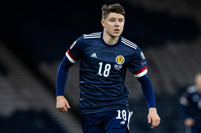 Kevin Nisbet makes his Scotland debut during a World Cup qualifier against the Faroe Islands at Hampden Park. Photo by Craig Williamson / SNS Group