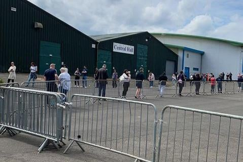 Huge queues 'right back to the car park'were seen at the Lowland Hall vaccination centre at the Royal Highland Centre on Monday as people faced delays of over an hour.