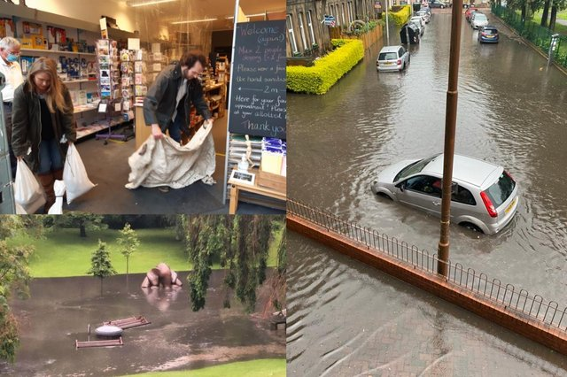 Flash floods cause chaos across Edinburgh after a bout of extreme weather on Sunday afternoon.
