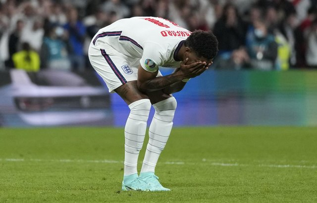 Marcus Rashford of England reacts after missing their team's third penalty in the UEFA Euro 2020 Championship Final