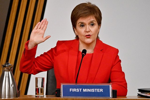 First Minister Nicola Sturgeon taking oath before giving evidence to the Committee on the Scottish Government Handling of Harassment Complaints at Holyrood in Edinburgh. Picture: Jeff J Mitchell/PA Wire